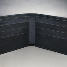 レーデルオガワ社製オイル仕上げコードバンのブラック色の二つ折り財布(小銭入れなし)-1-7