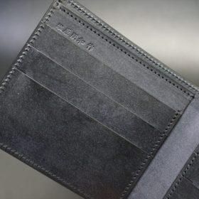 レーデルオガワ社製オイル仕上げコードバンのブラック色の二つ折り財布(小銭入れなし)-1-8