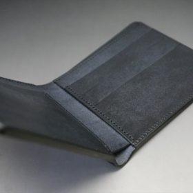 レーデルオガワ社製オイル仕上げコードバンのブラック色の二つ折り財布(小銭入れなし)-1-9