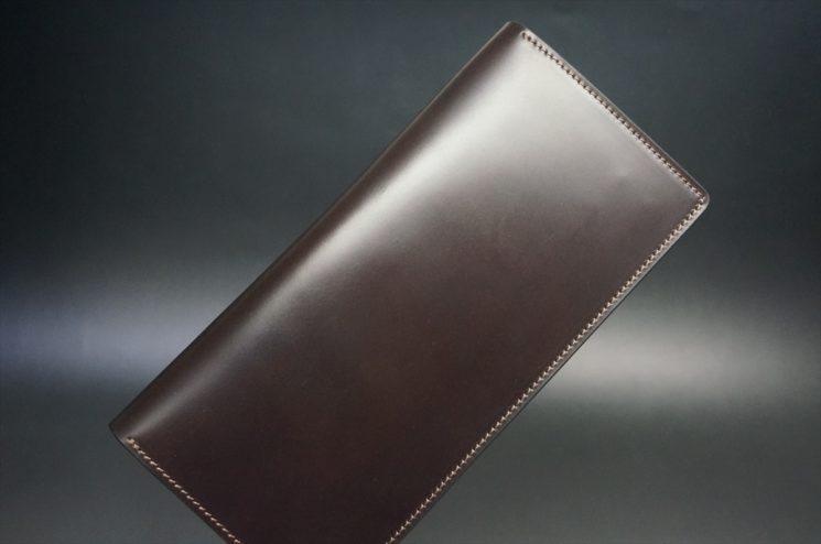 レーデルオガワ社製オイル仕上げコードバンのバーガンディ色の長財布(シルバー色)-1-1