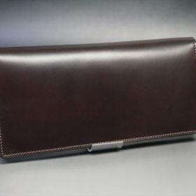 レーデルオガワ社製オイル仕上げコードバンのバーガンディ色の長財布(シルバー色)-1-2