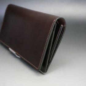 レーデルオガワ社製オイル仕上げコードバンのバーガンディ色の長財布(シルバー色)-1-3