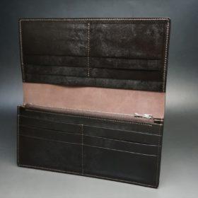 レーデルオガワ社製オイル仕上げコードバンのバーガンディ色の長財布(シルバー色)-1-6