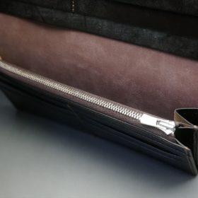 レーデルオガワ社製オイル仕上げコードバンのバーガンディ色の長財布(シルバー色)-1-7
