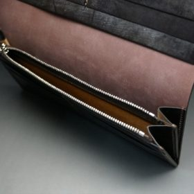 レーデルオガワ社製オイル仕上げコードバンのバーガンディ色の長財布(シルバー色)-1-8
