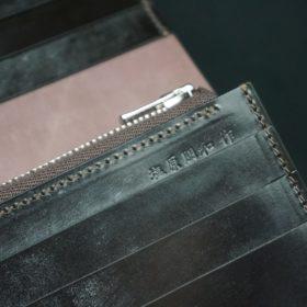 レーデルオガワ社製オイル仕上げコードバンのバーガンディ色の長財布(シルバー色)-1-9