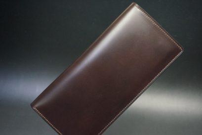 レーデルオガワ社製オイル仕上げコードバンのバーガンディ色の長財布(シルバー色)-2-1