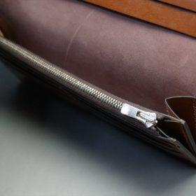 レーデルオガワ社製オイル仕上げコードバンのバーガンディ色の長財布(シルバー色)-2-10