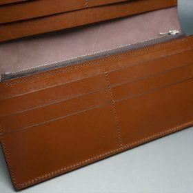 レーデルオガワ社製オイル仕上げコードバンのバーガンディ色の長財布(シルバー色)-2-13