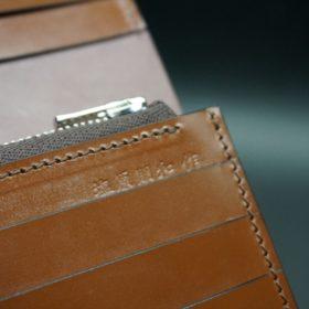 レーデルオガワ社製オイル仕上げコードバンのバーガンディ色の長財布(シルバー色)-2-14