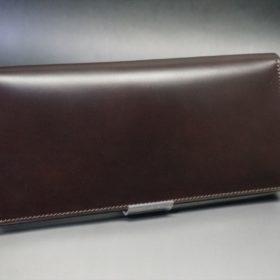 レーデルオガワ社製オイル仕上げコードバンのバーガンディ色の長財布(シルバー色)-2-2