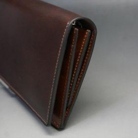 レーデルオガワ社製オイル仕上げコードバンのバーガンディ色の長財布(シルバー色)-2-3