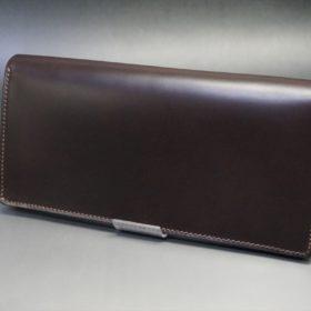 レーデルオガワ社製オイル仕上げコードバンのバーガンディ色の長財布(シルバー色)-2-4