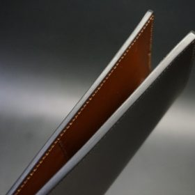 レーデルオガワ社製オイル仕上げコードバンのバーガンディ色の長財布(シルバー色)-2-6