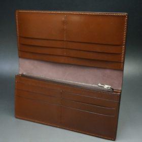 レーデルオガワ社製オイル仕上げコードバンのバーガンディ色の長財布(シルバー色)-2-8
