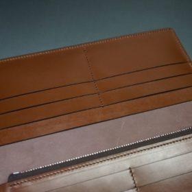 レーデルオガワ社製オイル仕上げコードバンのバーガンディ色の長財布(シルバー色)-2-9