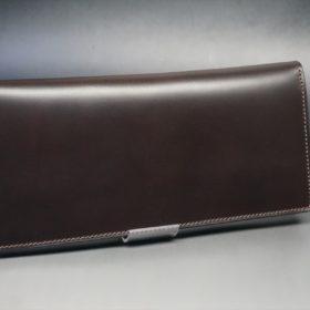 レーデルオガワ社製オイル仕上げコードバンのバーガンディ色の長財布(小銭入れなしタイプ)-1-2