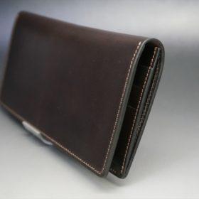 レーデルオガワ社製オイル仕上げコードバンのバーガンディ色の長財布(小銭入れなしタイプ)-1-3