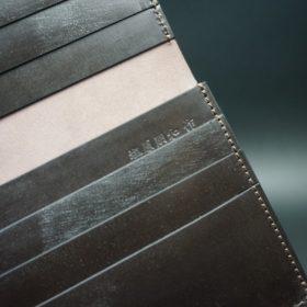 レーデルオガワ社製オイル仕上げコードバンのバーガンディ色の長財布(小銭入れなしタイプ)-1-9