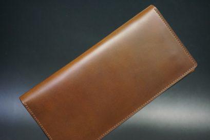 レーデルオガワ社製オイル仕上げコードバンのコーヒーブラウン色の長財布(シルバー色)-1-1