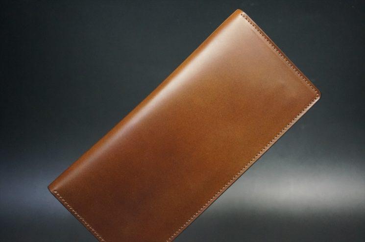 レーデルオガワ社製オイル仕上げコードバンのコーヒーブラウン色の長財布(小銭入れなしタイプ)-1-1