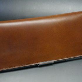 レーデルオガワ社製オイル仕上げコードバンのコーヒーブラウン色の長財布(小銭入れなしタイプ)-1-2