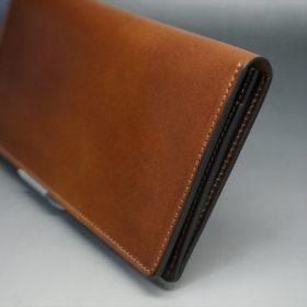 レーデルオガワ社製オイル仕上げコードバンのコーヒーブラウン色の長財布(小銭入れなしタイプ)-1-3
