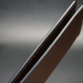 レーデルオガワ社製オイル仕上げコードバンのコーヒーブラウン色の長財布(小銭入れなしタイプ)-1-4