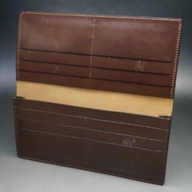 レーデルオガワ社製オイル仕上げコードバンのコーヒーブラウン色の長財布(小銭入れなしタイプ)-1-6