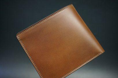 レーデルオガワ社製オイル仕上げコードバンのコーヒーブラウン色の二つ折り財布(小銭入れなし)-1-1