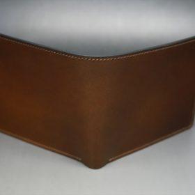 レーデルオガワ社製オイル仕上げコードバンのコーヒーブラウン色の二つ折り財布(小銭入れなし)-1-2