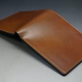 レーデルオガワ社製オイル仕上げコードバンのコーヒーブラウン色の二つ折り財布(小銭入れなし)-1-3