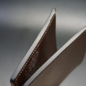 レーデルオガワ社製オイル仕上げコードバンのコーヒーブラウン色の二つ折り財布(小銭入れなし)-1-4