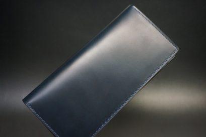 レーデルオガワ社製オイル仕上げコードバンのネイビー色の長財布(シルバー)-1-1