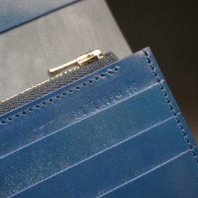 レーデルオガワ社製オイル仕上げコードバンのネイビー色の長財布(シルバー)-1-10