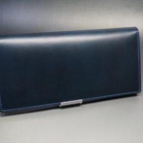 レーデルオガワ社製オイル仕上げコードバンのネイビー色の長財布(シルバー)-1-2