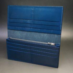 レーデルオガワ社製オイル仕上げコードバンのネイビー色の長財布(シルバー)-1-6