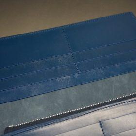 レーデルオガワ社製オイル仕上げコードバンのネイビー色の長財布(シルバー)-1-7