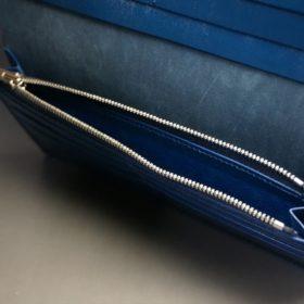 レーデルオガワ社製オイル仕上げコードバンのネイビー色の長財布(シルバー)-1-9