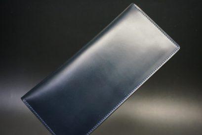 レーデルオガワ社製オイル仕上げコードバンのネイビー色の長財布(小銭入れなしタイプ)-1-1