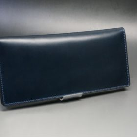 レーデルオガワ社製オイル仕上げコードバンのネイビー色の長財布(小銭入れなしタイプ)-1-2
