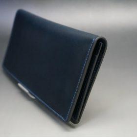 レーデルオガワ社製オイル仕上げコードバンのネイビー色の長財布(小銭入れなしタイプ)-1-3