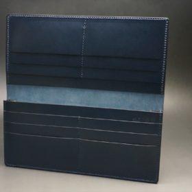 レーデルオガワ社製オイル仕上げコードバンのネイビー色の長財布(小銭入れなしタイプ)-1-6