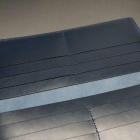 レーデルオガワ社製オイル仕上げコードバンのネイビー色の長財布(小銭入れなしタイプ)-1-8