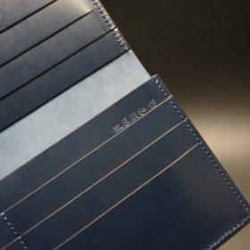 レーデルオガワ社製オイル仕上げコードバンのネイビー色の長財布(小銭入れなしタイプ)-1-9