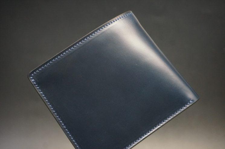 レーデルオガワ社製オイル仕上げコードバンのネイビー色の二つ折り財布(小銭入れなし)-1-1