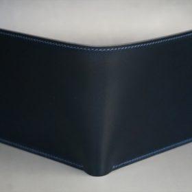 レーデルオガワ社製オイル仕上げコードバンのネイビー色の二つ折り財布(小銭入れなし)-1-2