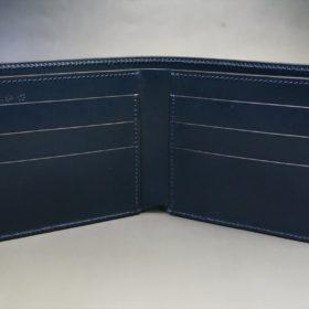 レーデルオガワ社製オイル仕上げコードバンのネイビー色の二つ折り財布(小銭入れなし)-1-6
