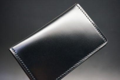 新喜皮革社製オイルコードバンのブラック色の小銭入れ(横長タイプ/ゴールド色)-1-1