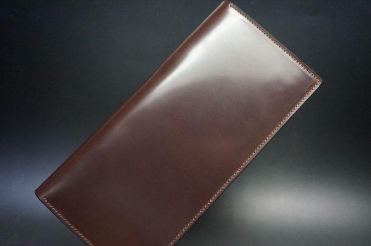 ロカド社製オイルコードバンのダークバーガンディ色のスタンダード長財布(ゴールド色)-1-1